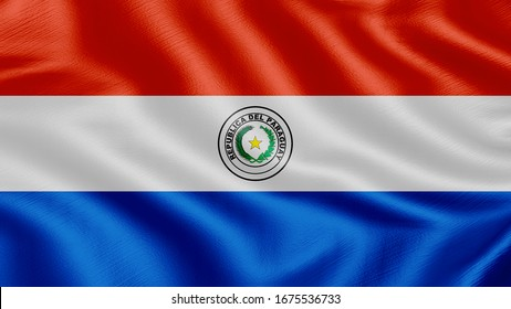 Flag of Paraguay. Realistic waving flag 3D render illustration with highly detailed fabric texture.