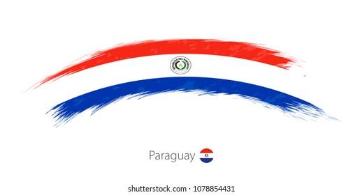 Flag of Paraguay in rounded grunge brush stroke. Raster copy.