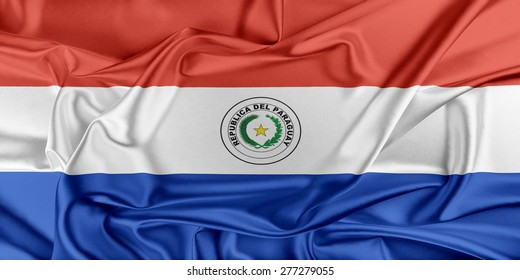 Flag of Paraguay waving in the wind