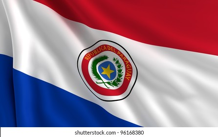 A flag of Paraguay in the wind