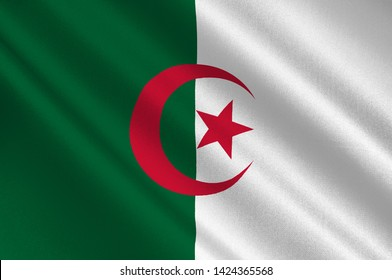 Flag of Peoples Democratic Republic of Algeria is a country in the Maghreb region of North Africa. 3d illustration