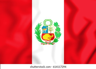 Flag of the Peru. 3D Illustration.