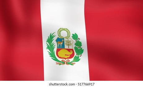 Flag Peru, fluttering in the wind. 3D rendering.