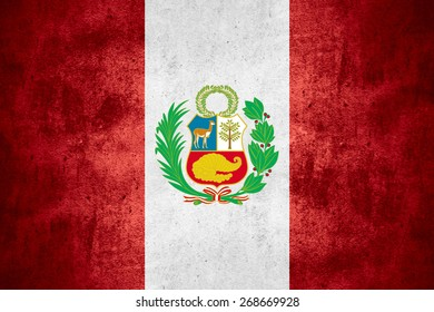 flag of  Peru or  Peruvian banner on rough pattern texture background