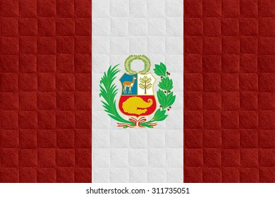 flag of Peru or Peruvian banner on check pattern background