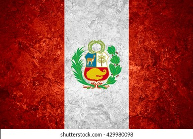 flag of Peru or Peruvian banner on vintage background