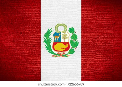 flag of Peru or Peruvian banner on row pattern texture