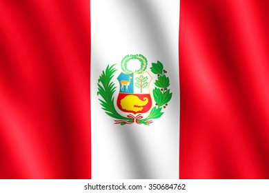 Flag of Peru waving in the wind giving an undulating texture of folds in the fabric. The Image is in the official ratio of the flag - 2:3.