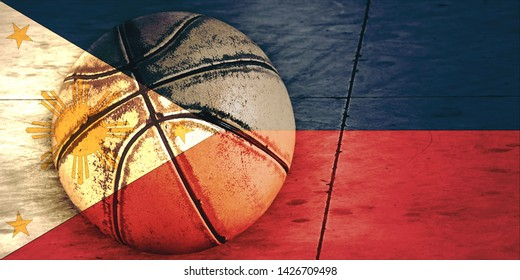Flag of the Philippines and basketball ball.