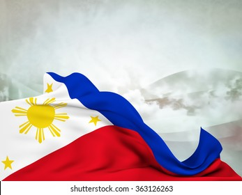 Flag of the Philippines moved by the wind, leaving a useful space over abstract waves