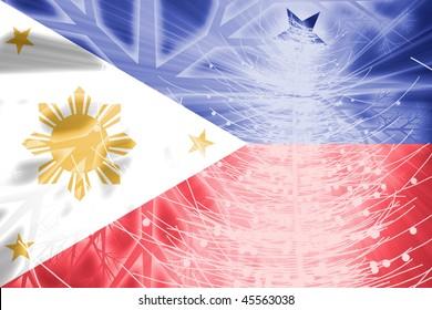 Flag of Philippines, national country symbol illustration christmas holidays season