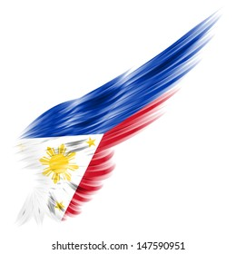 The Flag of the Philippines on wing and white background