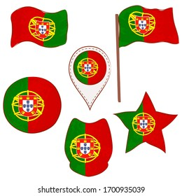 Flag of Portugal Made in Different Variations, as Flag with and without Stick, in a Circle, as Shield, Star and Map Pointer. Flag Shapes with Contours, Decorated with Dotted Stitch and Brush Texture.