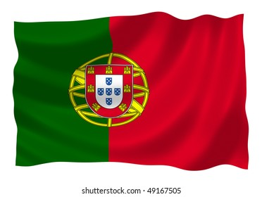 Flag of Portugal waving in the wind