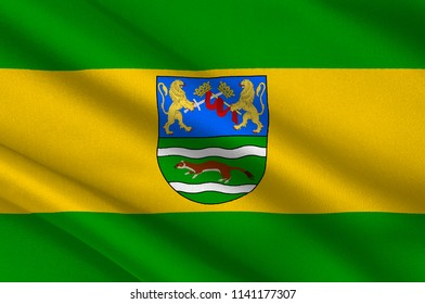 Flag of Pozega-Slavonia County is a Croatian county in western Slavonia. 3d illustration