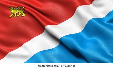 Flag of Primorsky Krai waving in the wind. 3D illustration.