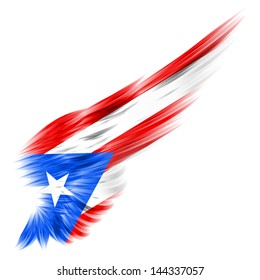 The Flag of Puerto Rico on Abstract wing with white background