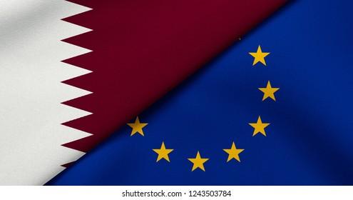 Flag of Qatar and European Union