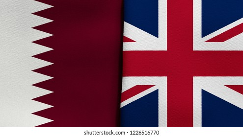 Flag of Qatar and Great Britain