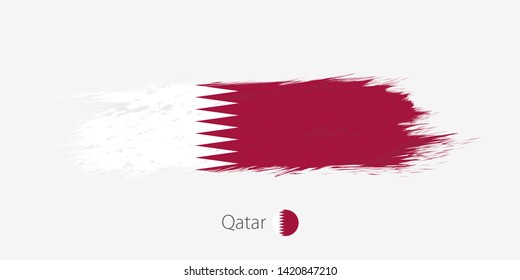 Flag of Qatar, grunge abstract brush stroke. Raster copy.