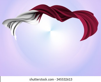 Flag of Qatar shaped by the wind over an abstract background.