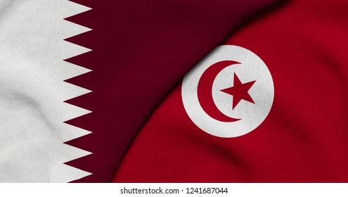 Flag of Qatar and Tunisia