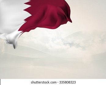 Flag of Qatar  waving in the corner of a page with grunge wooden boards