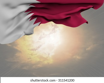 Flag of Qatar waving and fluttering on spectacular sun beaming through the clouds background