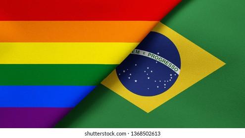 Flag of Rainbow flag (LGBT movement) and Brazil