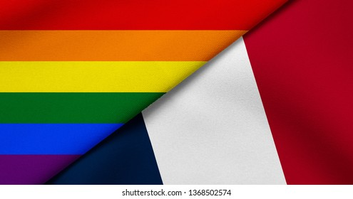Flag of Rainbow flag (LGBT movement) and France