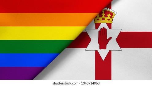 Flag of Rainbow flag (LGBT movement) and Northern Ireland
