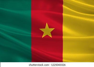 Flag of Republic of Cameroon is a country wedged in West and Central Africa. 3d illustration