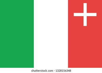 Flag of Republic and Canton of Neuchatel is a canton of French-speaking western Switzerland. 3d illustration