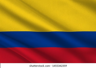 Flag of Republic of Colombia is a sovereign state largely situated in the northwest of South America, with territories in North America. 3d illustration