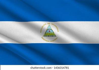 Flag of Republic of Nicaragua is the largest country in the Central American isthmus. 3d illustration