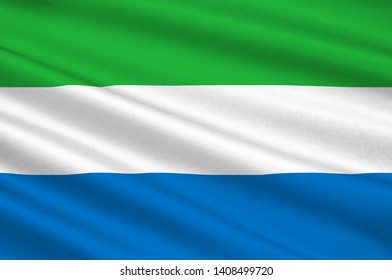 Flag of Republic of Sierra Leone is a country on the southwest coast of West Africa. 3d illustration