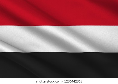 Flag of Republic of Yemen is a country at the southern end of the Arabian Peninsula in Western Asia. 3d illustration