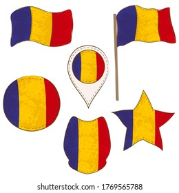 Flag of the Romania Made in Different Variations, as Flag with and without Stick, in a Circle, as a Shield, Star and Map Pointer. Flag Shapes with Contours, Decorated with Stitch and Brush Texture.