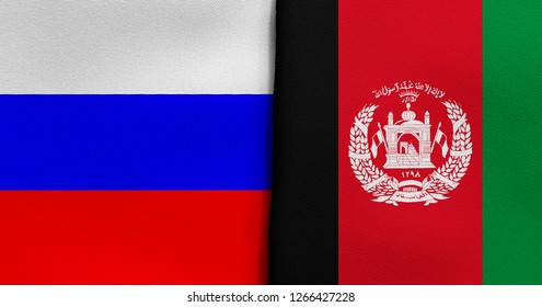 Flag of Russia and Afghanistan
