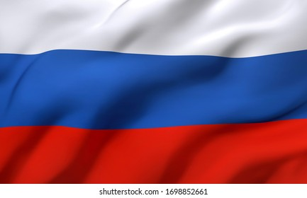 Flag of Russia blowing in the wind. Full page Russian flying flag. 3D illustration.