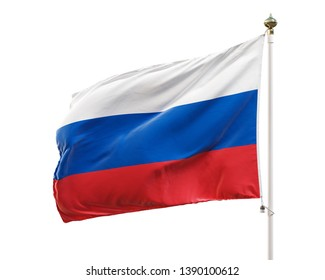 Flag of Russia isolated on white background. Clipping path included. 3D illustration.