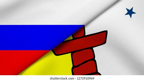 Flag of Russia and Nunavut