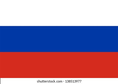 Flag of Russia. Proper ratio (2:3) and colours (RGB 255,255,255 - 0,57,166 - 213,43,30). Adopted December 11, 1993.