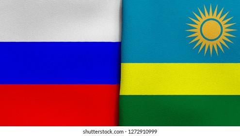 Flag of Russia and Rwanda