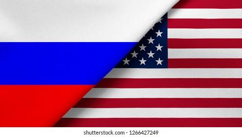 Flag of Russia and USA