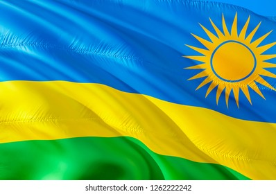 Flag of Rwanda. 3D Waving flag design. The national symbol of Rwanda, 3D rendering. Rwanda 3D Waving sign design. Waving sign background wallpaper. 3D pattern background download HD wallpaper