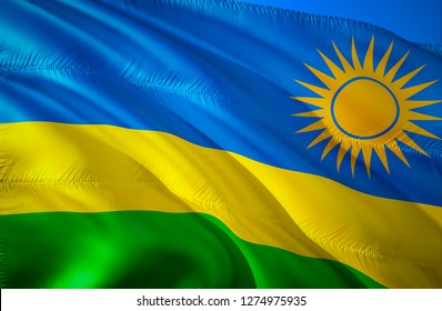 Flag of Rwanda. 3D Waving flag design. The national symbol of Rwanda, 3D rendering. The national symbol of Rwanda background wallpaper. 3D ribbon, wallpaper, pattern background