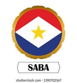 Flag of Saba with name icon, Golden sticker with flag of the Saba.