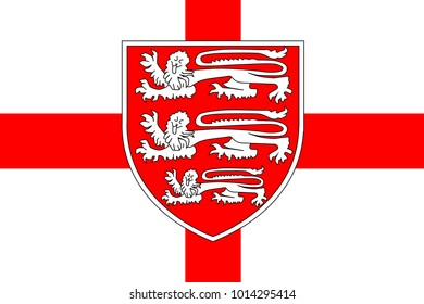 The flag of Saint George of England with the three British Lions isolated against the red cross.