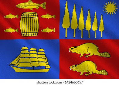 Flag of Saint John is a port city on the Bay of Fundy in the Canadian province of New Brunswick. 3d illustration
